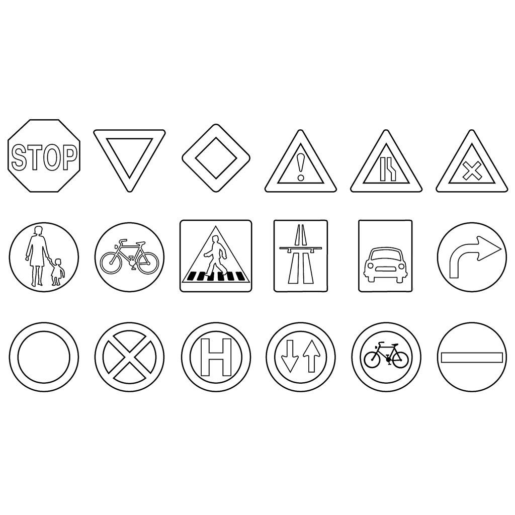 verkehrszeichen zum ausmalen verkehrszeichen der. Black Bedroom Furniture Sets. Home Design Ideas