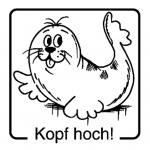 Lustiger Tiermotivstempel – Kopf hoch!