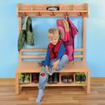 Garderobenbänke mit Schuheinteilung in verschiedenen Größen