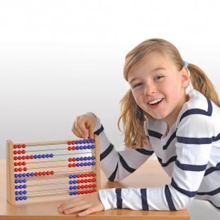 Rechenrahmen für den Zahlenraum bis 100, rot/blau