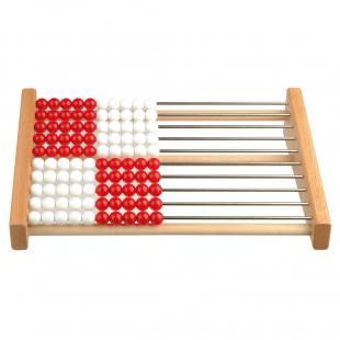 Rechenrahmen für den Zahlenraum bis 100, rot/weiß