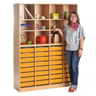 Modulus® Klassenraum-Regal, 4-reihig, 12 Fächer, 32 kleine Schübe, mit Sockel