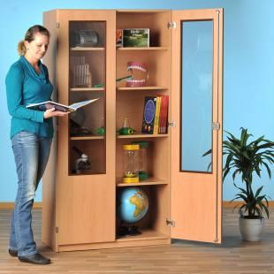 Modulus Klassenschrank, Tiefe 60 cm, Breite: 95 cm, ohne Mittelwand, 4 Böden, mit 2/3 verglasten Türen