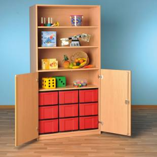 Modulus® Halbtüren-Schrank mit 2 Türen, Breite: 95 cm, 4 Böden, 9 große Schubladen