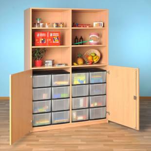 Modulus® Halbtüren-Schrank, 2 Türen, mit Mittelwand, Breite: 126 cm, 6 Böden, 16 große Schubladen