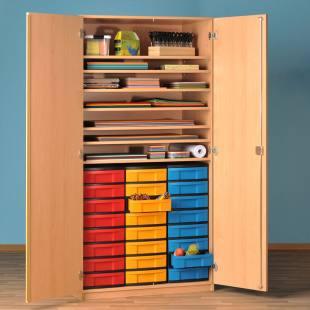 Modulus® Papier- und Bastelschrank mit 24 kleinen Schubladen u. 7 Ablageböden
