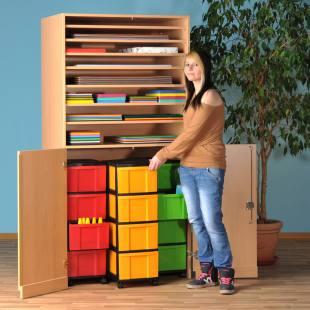 Modulus® Bastelschrank mit 2 Türen und 8 Ablageböden, inkl. 3 Rollcontainer mit je 4 großen Schubladen