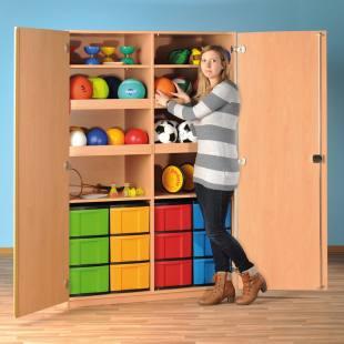 Modulus® Großer Spiel- und Sportschrank, ohne Gerätehaken, 4 Ballablagen, 12 große Schubladen, 2 Ablageböden