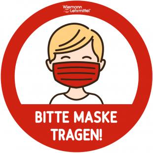 """Fußbodenaufkleber """"Bitte Maske tragen"""""""