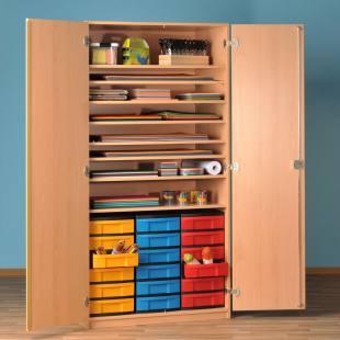 Modulus® Papier- und Bastelschrank mit 18 kleinen Schubladen u. 8 Ablageböden