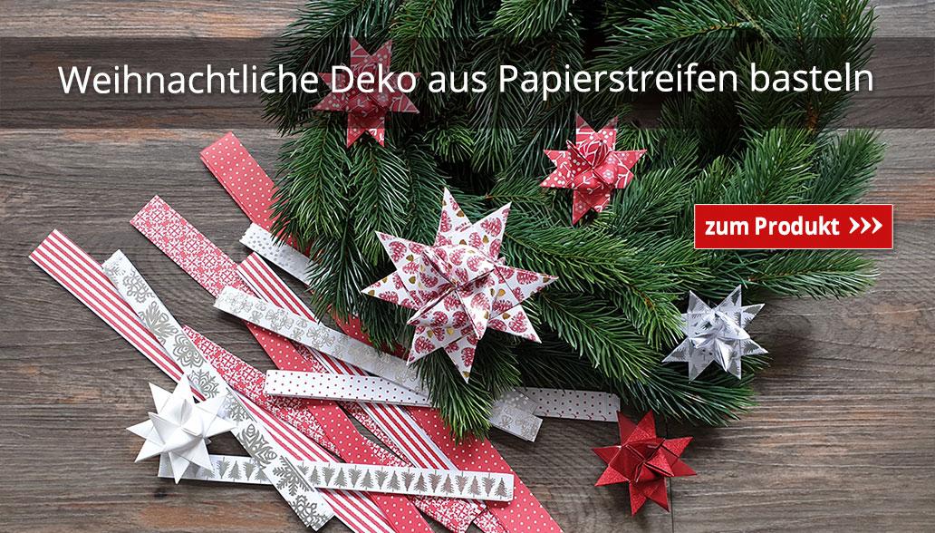 Weihnachtliche Deko aus Papierstreifen basteln
