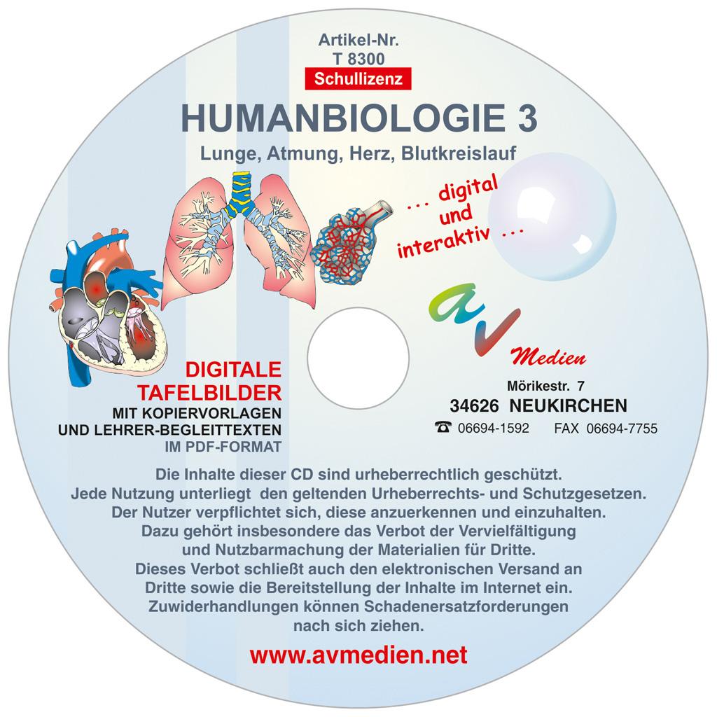 Interaktive digitale Tafelbilder HUMANBIOLOGIE 3-W-22631