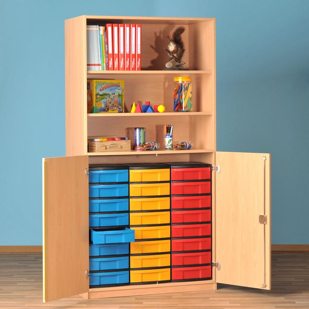 Modulus® Halbtüren-Schrank mit 2 Türen, Breite: 95 cm, 3 Böden, 24 kleine Schubladen