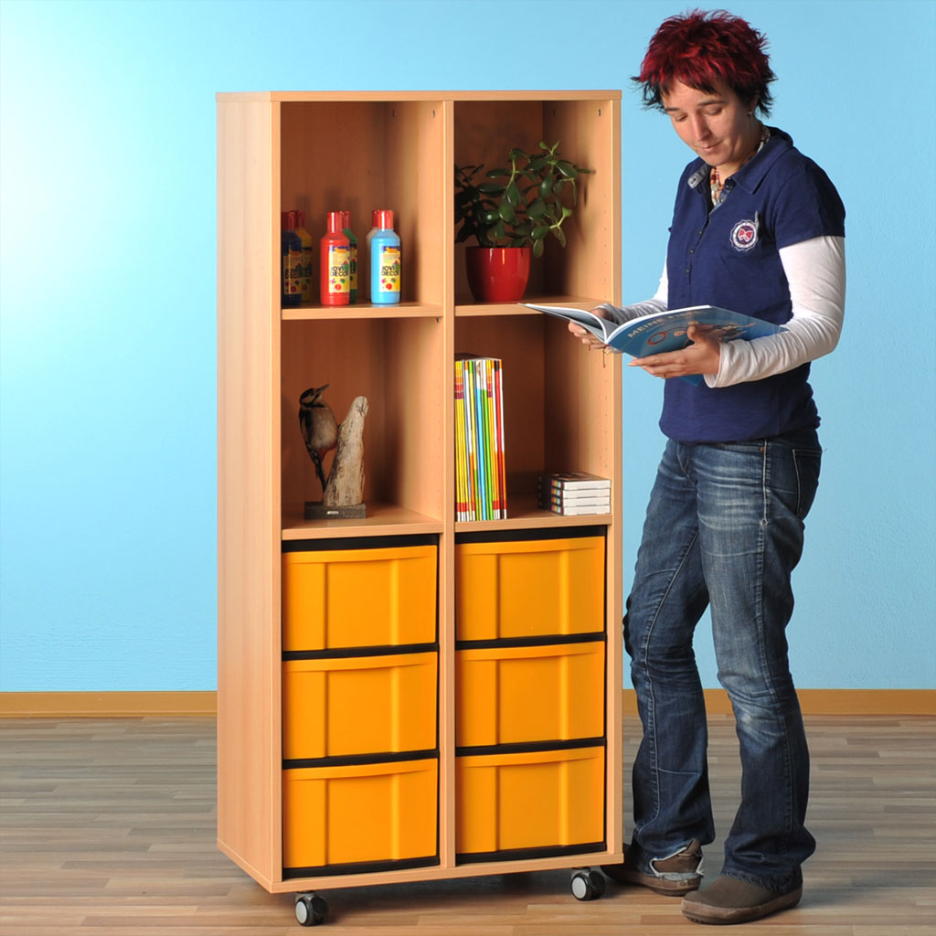 Modulus® Hohes Klassenzimmer-Regal, 2-reihig, 4 Böden, 6 große Schubladen, mit Rollen