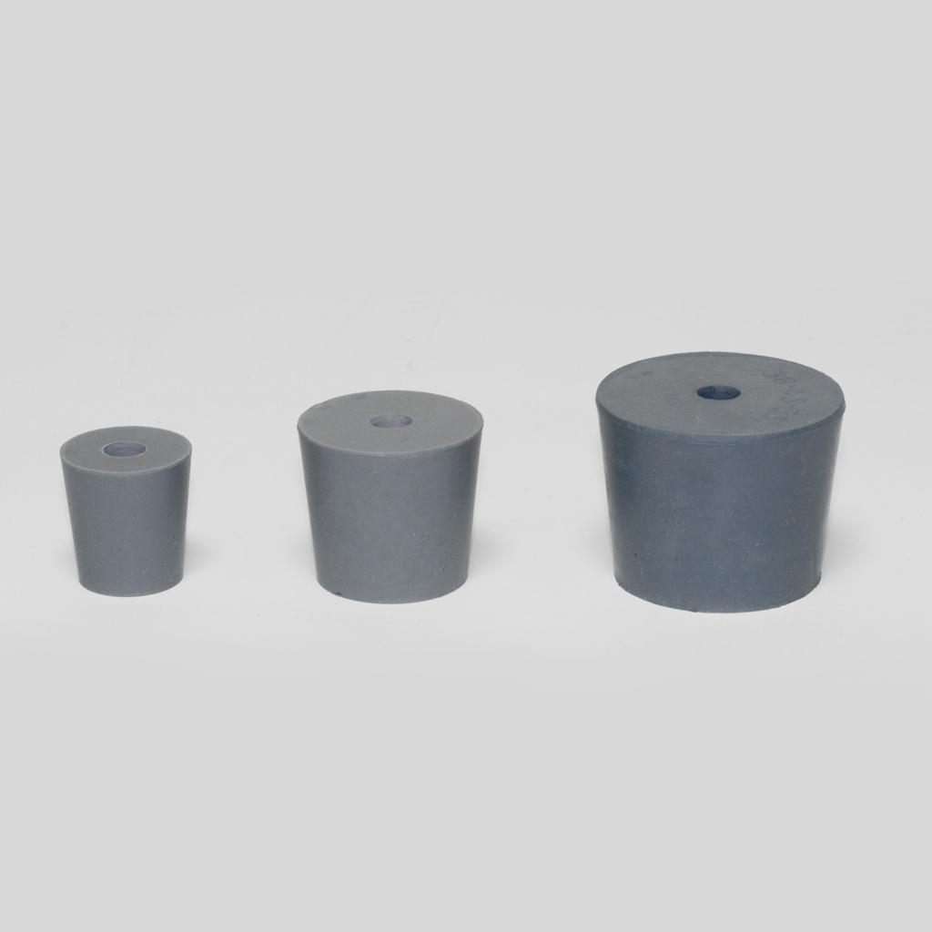 Gummistopfen, grau, mit 1 Bohrung