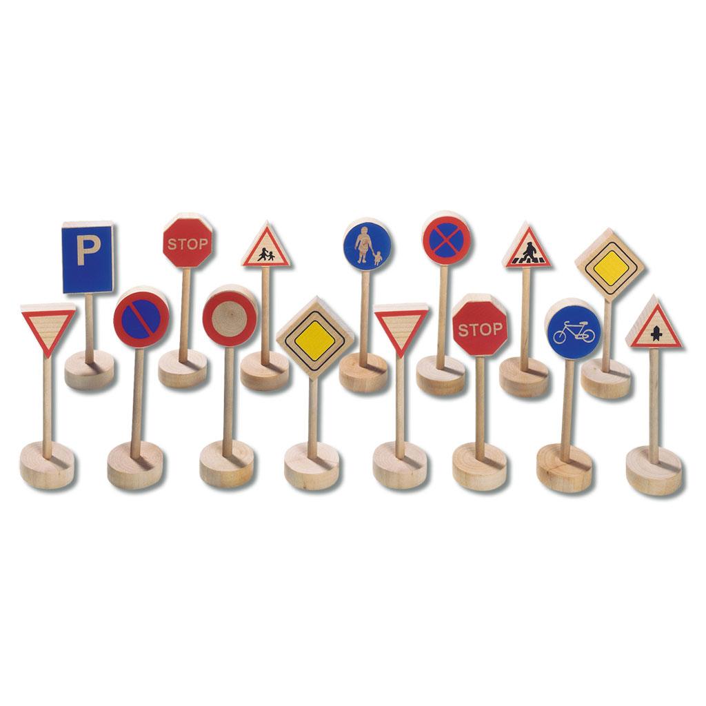 Verkehrszeichen Set aus Holz