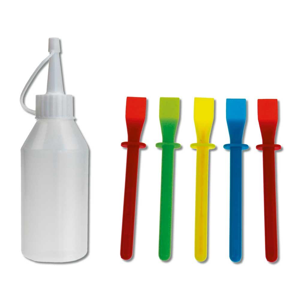 Farbflaschen- und Farbspachtel-Set
