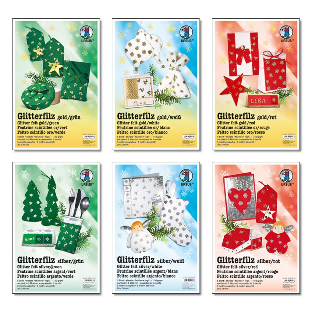Glitterfilz - in 6 Farbkombinationen lieferbar