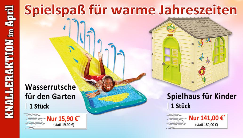 Knallerprodukte des Monats April: Spielhaus und Wasserrutsche