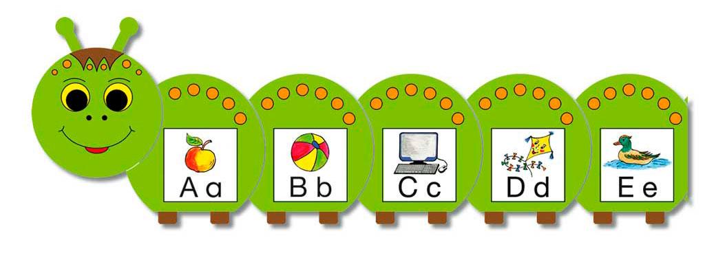 ABC-Raupe mit 37 Anlautkarten zum zu Hause Lernen