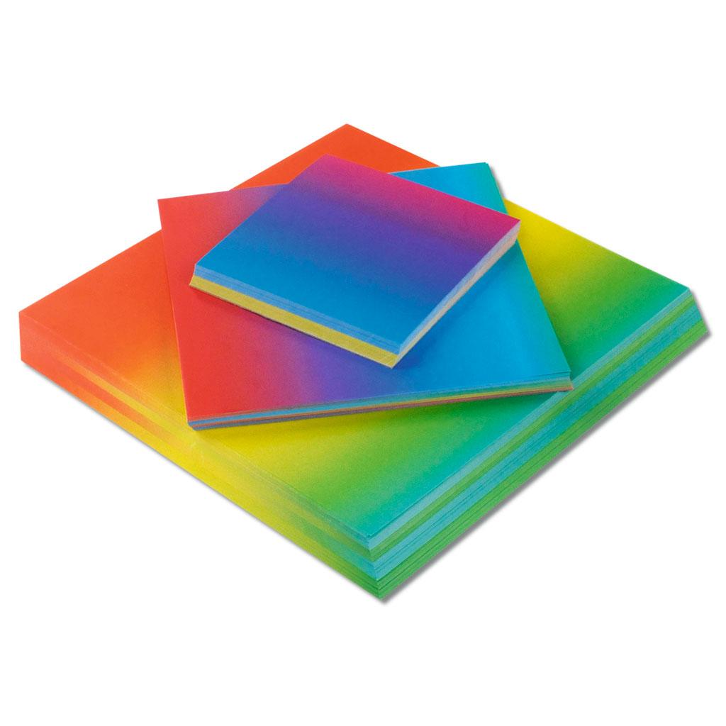 Faltblätter in Regenbogenfarben zum kreativen Gestalten