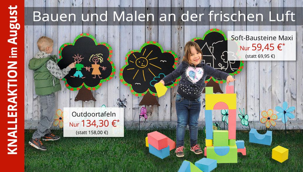 Produkte des Monats August: Soft-Bausteine und Outdoor-Tafeln für drinnen und draußen
