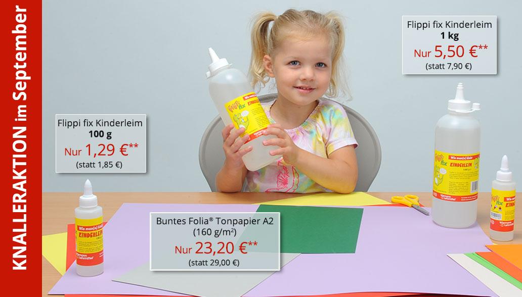 Produkte des Monats September: Tonpapier und Kinderleim