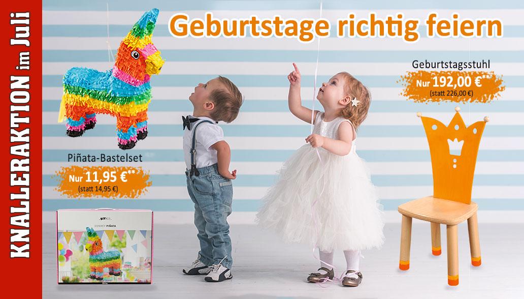 Produkte des Monats Juli: Geburtstagsstuhl und Kinder-Piñata Bastelset für tolle Geburtstagsfeiern