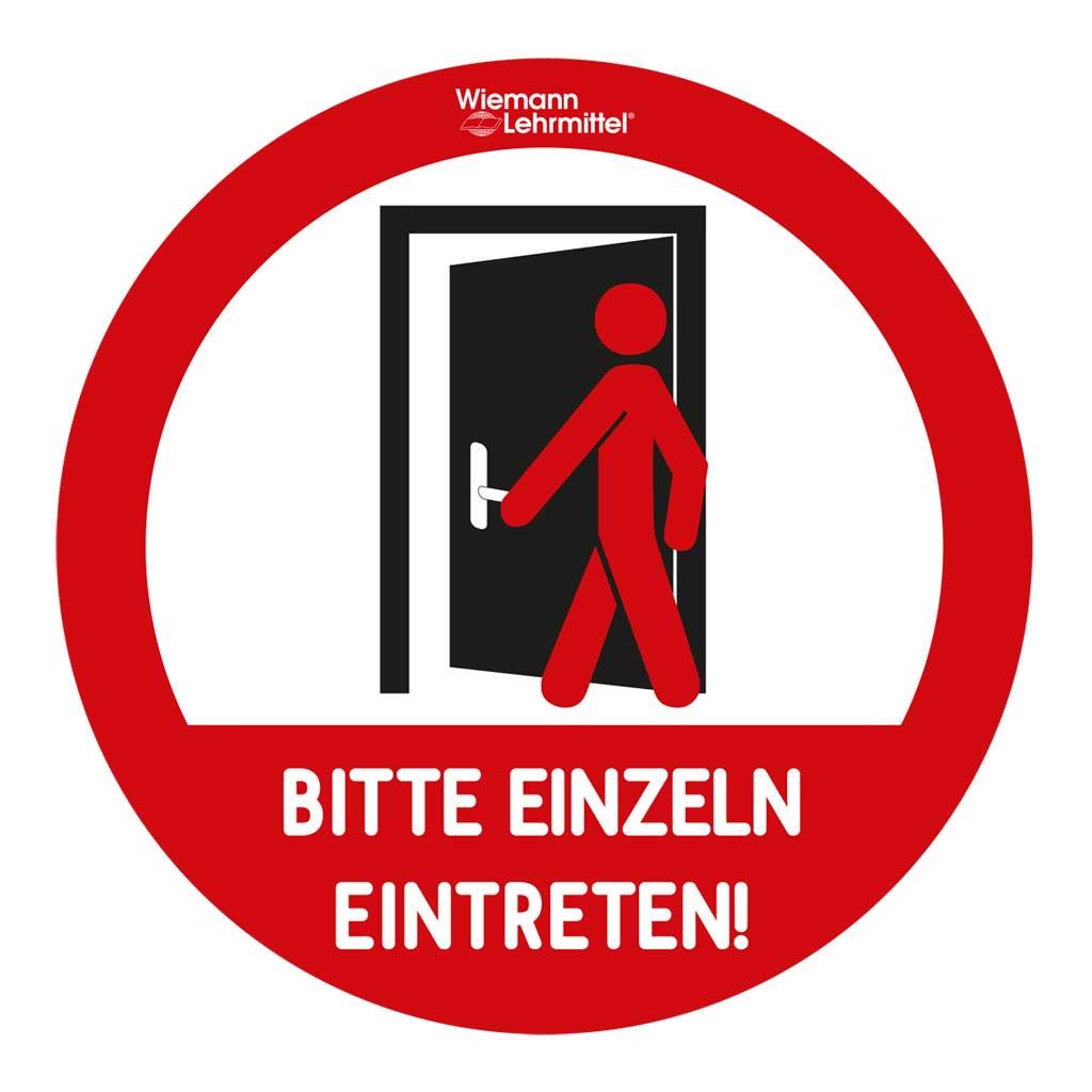 """Aufkleber für Türen """"Bitte einzeln eintreten"""""""