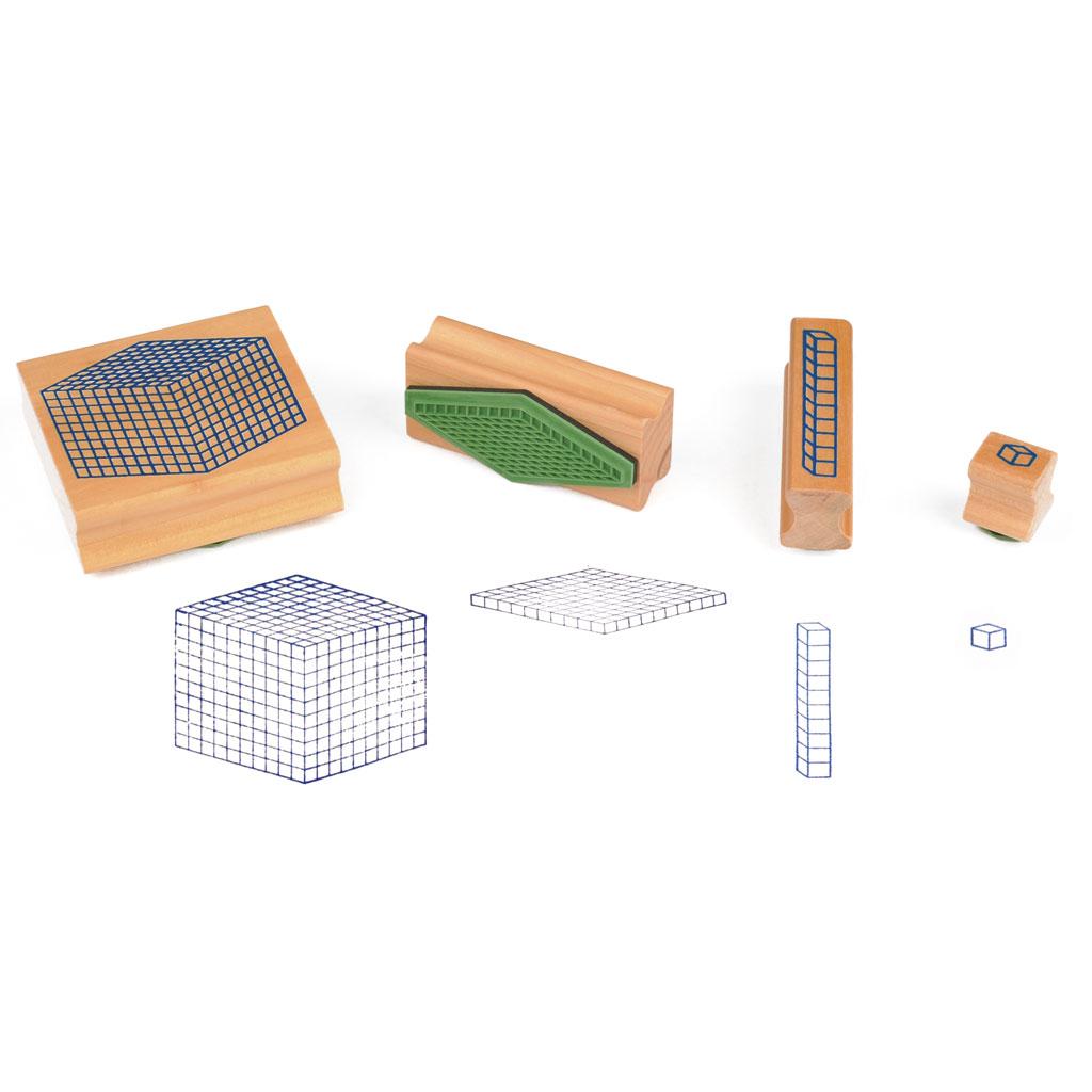 Würfel-Stempelsatz – Satz mit 4 Stempel